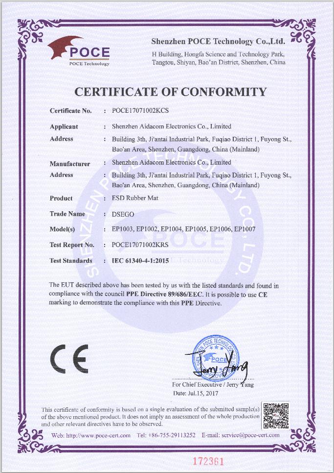 Сертификат соответствия марки CE, на антистатические покрытия